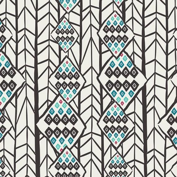 ETN  50043 Black Teal TRIANGLES by Pat Bravo for Art Gallery 100/% Premium Cotton Fabric ETNO Contempo Pyramids Ebony by 12 Yard