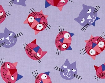 """Robert Kaufman Whiskers & Tails Cats All over Violet  14570-22 - 100% Cotton - 3 Cuts in Stock 18"""" and smaller"""