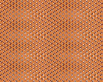 Beckwith by 1/2 Yard - A-8306-O Orange Flower by Kathy Hall for Andover Fabric - Civil Ware Reproduction - 100% Premium Quilt Shop Cotton