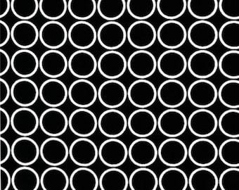 Black and White Metro Living Circles by Robert Kaufman Fabrics - Geometric Fabric - Black and White