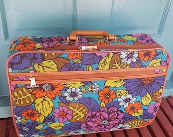 565913b1d0 Sac de voyage toile Vintage Style Mod BANTAM, fleur enfant imprimer, porter  sur, sac de Style rétro, été Weekender, imprimé Floral.
