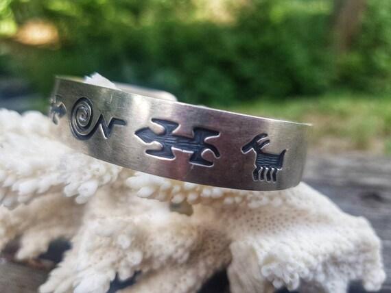 Sterling Cuff Bracelet Signed GIBB Storyteller Bra