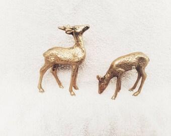 Vintage Brass Deer Set of Two