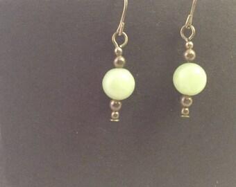 Faux Jade Dangly Earrings
