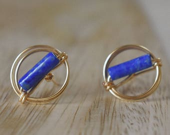 Lapis Lazuli and Gold plated wire earrings