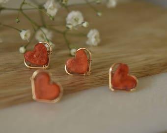 Corail en forme coeur boucles d'oreilles   Fil bijoux