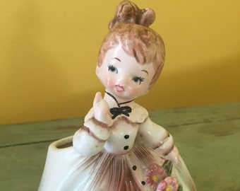 Vintage Pink Inarco Girl Planter