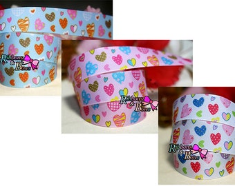 "3 color heart Grosgrain Ribbon 1"",heart ribbon, 1"" heart  Ribbon"