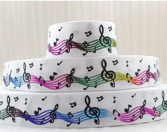 "Music note foil rainbow Grosgrain Ribbon 1"", Music note Rainbow  Ribbon, 1""  Music note foil rainbow Ribbon"