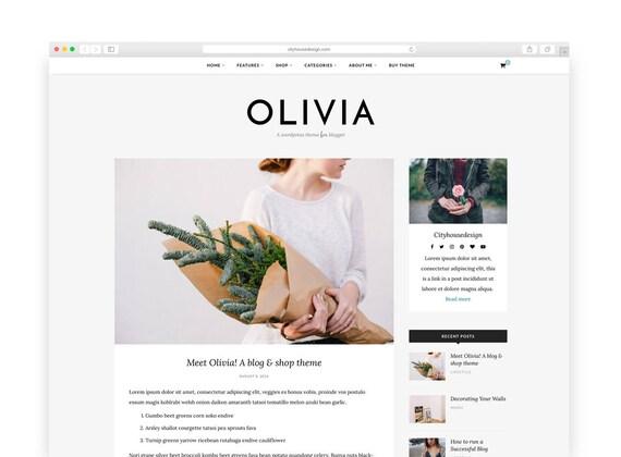 Olivia tema de Wordpress Wordpress plantilla sensible | Etsy