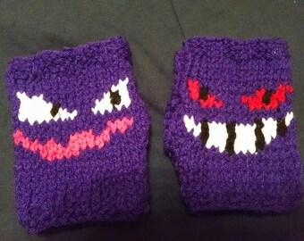 Ghost Pokemon Haunter Gengar Knitted Fingerless Gloves 6046f685c0fa