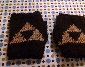Legend of Zelda Link Knitted Triforce Gauntlets Fingerless Gloves