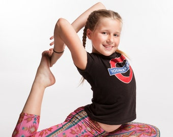 Girls Yoga Pants Aztec print in 4 way stretch with moisture wicking