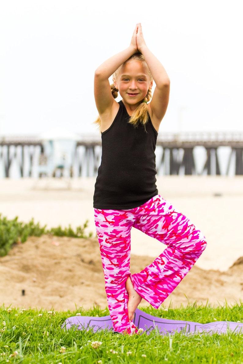 Yoga Pants girls spandex nylon flare leg elastic waist image 0