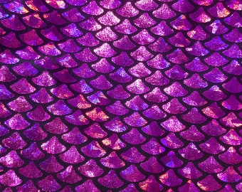 Hot Pink Holographic Foil on Nylon Spandex Fabric Mermaid scales