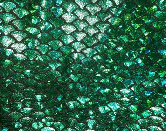 Green Holographic Foil on Nylon Spandex Fabric Mermaid scales