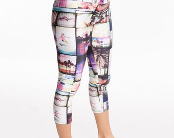 Capri Women's Yoga inspired Pants. Printed Stretchy Soft Active, 4 way stretch Spandex Running Tights, Workout, Casual Wear Leggings