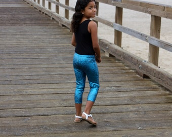 Leggins girls spandex nylon capri legging elastic waist