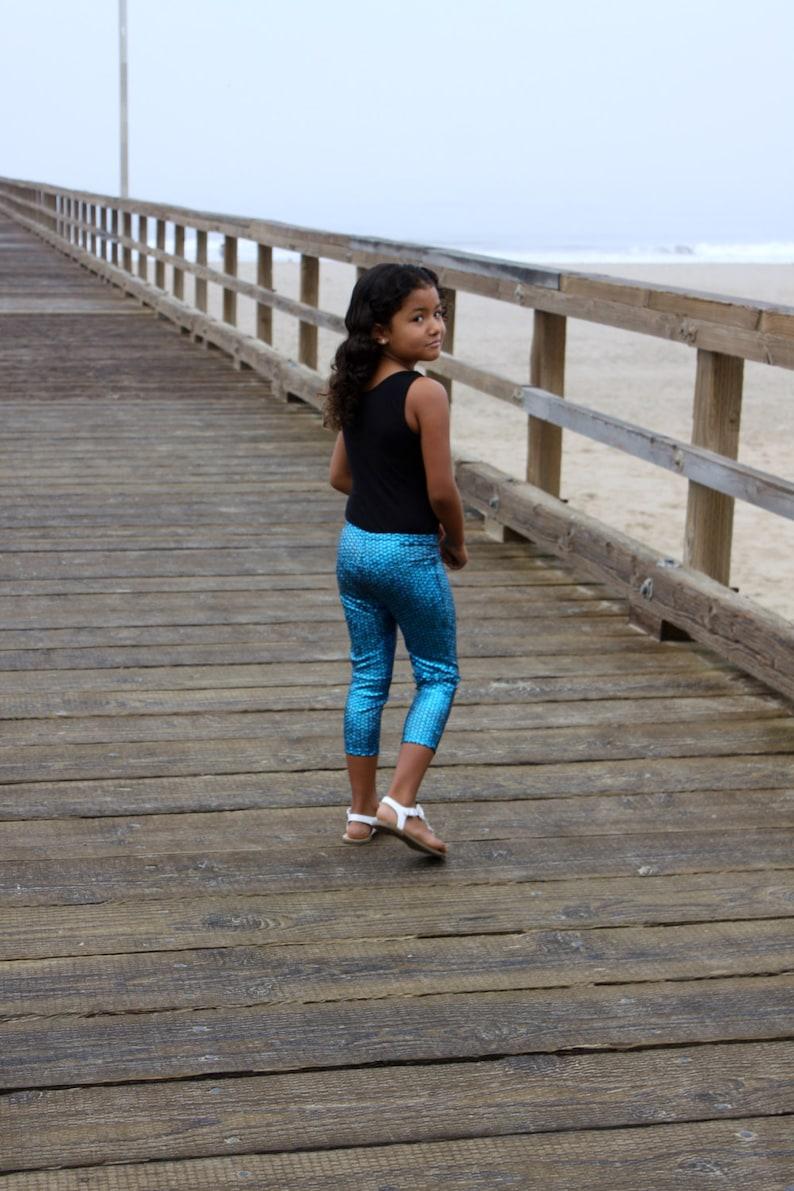 Leggings girls spandex nylon capri legging elastic waist image 0