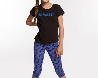 Girls Yoga Pants Kokopelli print in 4 way stretch with moisture wicking