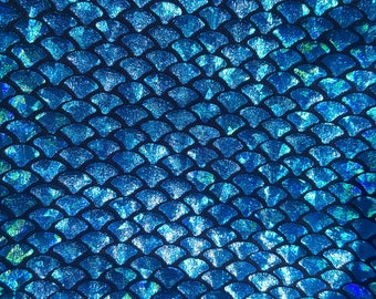 Turquoise Holographic Foil on Nylon Spandex Fabric Mermaid scales