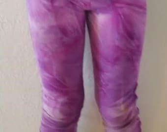 Yoga Pants-womens-spandex/nylon-capri legging-elastic waist-Tie Dye