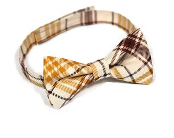 Fall Plaid bow tie, Autumn bow tie, Rust Orange Tan Brown Gold Beige plaid bow tie for babies, boys, toddlers, youth and adult