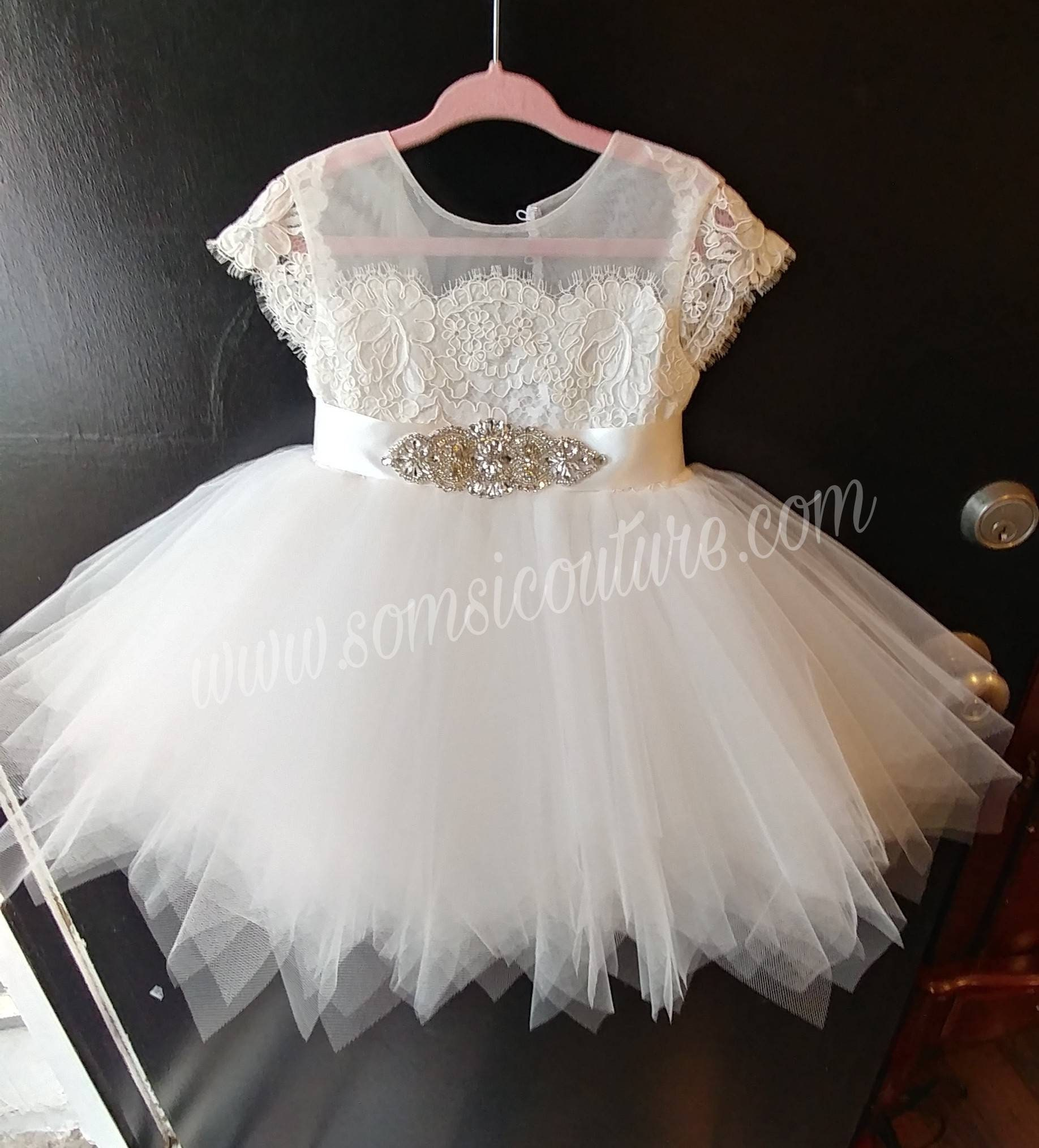 Diamond White Bella Flower Girl Dress With French Lace Cap Etsy