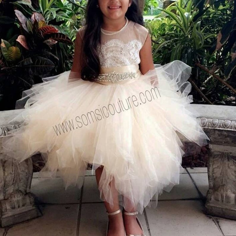 b141a358ffe Flower girl dress  Bianca  with rhinestone sash tan
