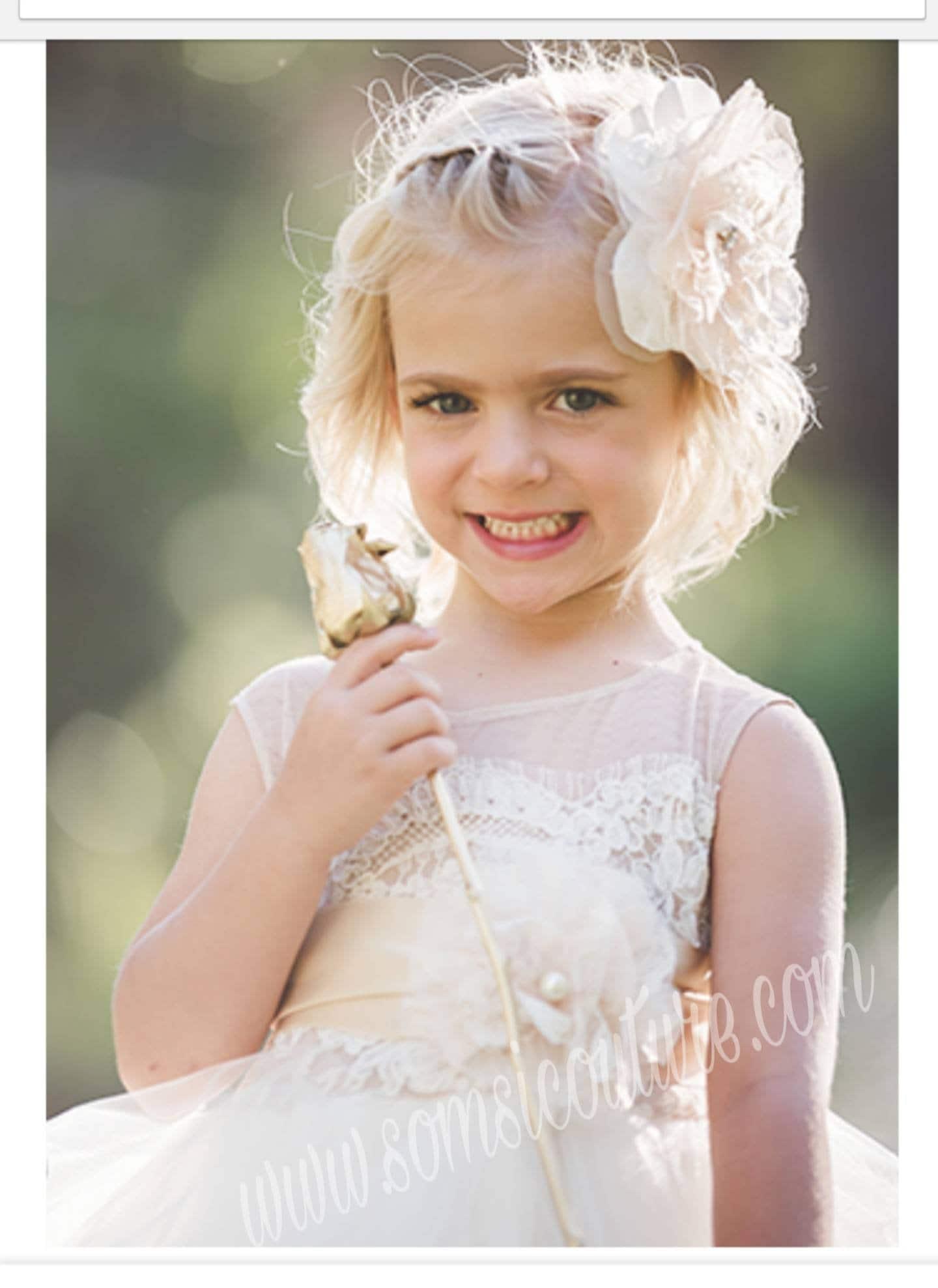 flowergirl dress 'Portia', tea length poufy ivory tulle skirt ,tan sheer net, French lace, satin sash, handmade flower,birthday, fairy dress