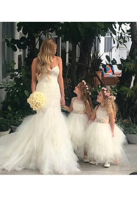 4b358a5a8cd Stunning ivory  Belle  flower girl dress ivory