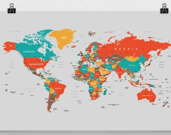World map cork board etsy world map world map poster wall mount world map pin board office map christmas gift office gift gumiabroncs Image collections
