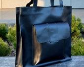 leather tote bag UMA, large black minimalist leather bag with one large outer pocket, shoulder leather bag, women bag, tote women