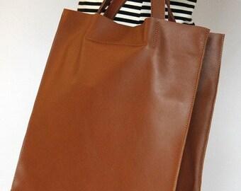 ccf65874e52ef torba skórzana UMA, duża minimalistyczna torebka damska, torebka damska XL,  mieści A4, torebka na ramię, do ręki,duży shopper, camel, brąz