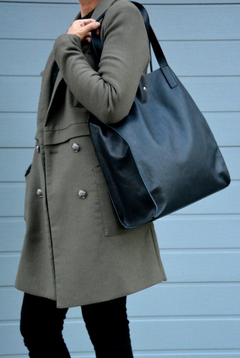d40a87504dfc5 Torba skórzana HULDA duża czarna minimalistyczna torebka