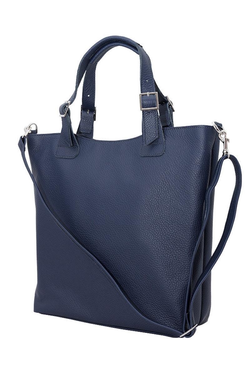 a7d680c4ce78 LENE leather bag big shoulder bag XL bag women dark blue