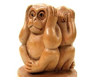 See No Evil, Hear No Evil, Speak No Evil Three Wise Monkeys Carving