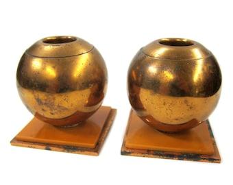 1920s Copper Candlesticks