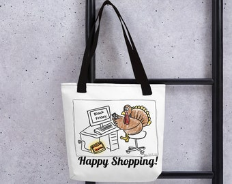 Happy Black Friday shopping tote bag