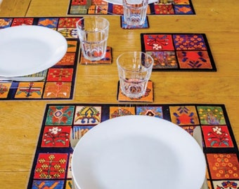 Colorful Placemat Set 6 Pieces Oriental Table Setting Serving Mat Flying Carpet Design Rectangle Large Plastic Placemat Table Protector