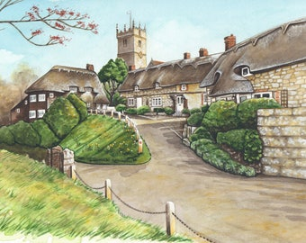 All Saint's Church, Godshill, Isle of Wight. High quality giclee print.