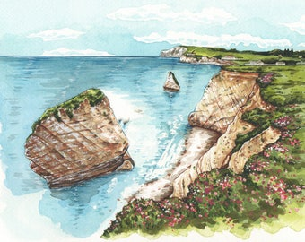 Freshwater Bay, Isle of Wight. High quality giclee print.
