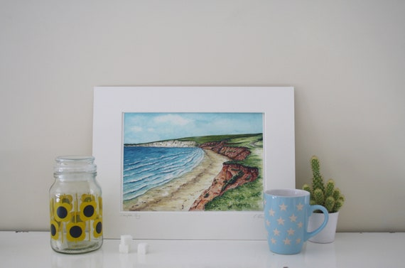 High quality giclee art print. Isle of Wight Bembridge Lifeboat and pier