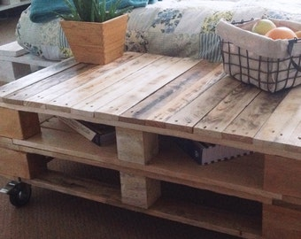 Industrial Pallet Coffee Table LEMMIK  in Natural Wood finish, Rustic Distressed Wood Decor/ Characterful reclaimed Living Room furniture