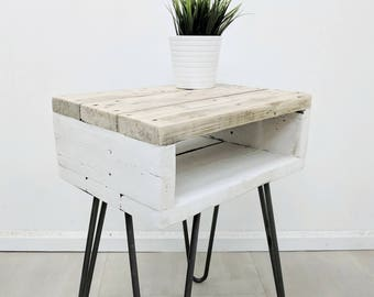 Boho Bedside Table NOA in Farmhouse Style made of Reclaimed Timber, Shabby Chic Distressed Nightstand with Hairpin Legs, End Tables