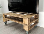 Reclaimed Timber TV Stand TELE-ALUS/ Pallet Wood Media Unit with Storage in Rustic Medium Oak & Dark Oak with edgy Castor Wheels