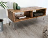 Rustic Retro Pallet Coffee Table TURVAS in Roast Coffee finish, with Vintage Hairpin Legs, Minimalist Design Reclaimed Wood Home Decor