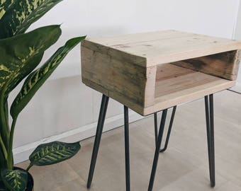 Retro Reclaimed Wood Bedside Table NOA Natural Wood Finish | Plant Stand |  Night Table | Boho Side Table Hairpin Legs