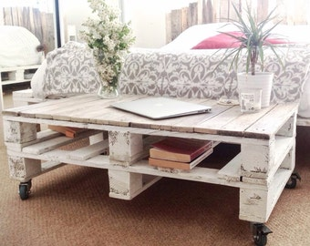Pallet Wood Coffee Table ESMA in Farmhouse Style with Wheels - Industrial Home Decor - Shabby Chic Distressed Design - Reclaimed Wood