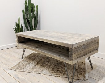 Table Basse Retro Coffee Table AVA From U0027EKOu0027 Range In Weathered Grey  Finish, With Hairpin Legs, Minimalist Design Reclaimed Wood Home Decor
